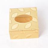 金色树叶,金色布纹亚克力抽纸盒